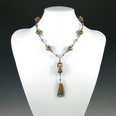 Amazing Design and color choice! Natasha Bead Tassel Necklace Beadweaving by KateTractonDesigns, $145.00