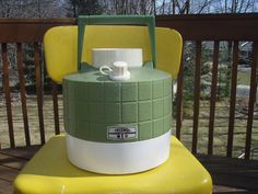 Enjoy summer and a family reunion or picnic with this groovy thermos. Bring up to the lake. One gallon size At a glance Vintage avocado green groovy picnic jug One gallon size Vintage Picnic, Vintage Box, Enjoy Summer, Summer Of Love, Camping Grill, Grilling, Bring Up, 1970s, Avocado