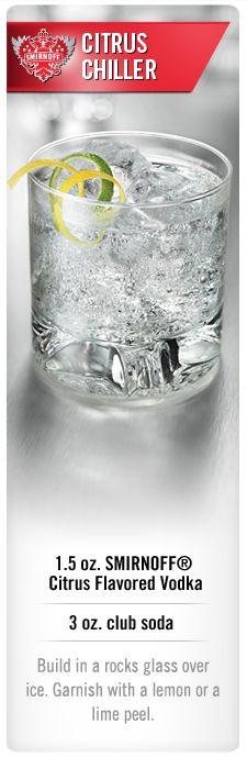 Smirnoff Citrus Chiller cocktail with Smirnoff Citrus flavored vodka and club soda. #Smirnoff #vodka #drink #recipe