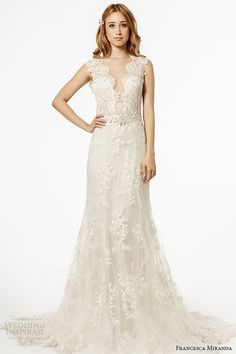 francesca miranda wedding dress fall 2015 thick lace strap plunging neckline bridal fit and flare gown palermo -- Francesca Miranda Fall 2015 Wedding Dresses 2015 Wedding Dresses, Country Wedding Dresses, Bridal Dresses, Bridesmaid Dresses, Lace Dresses, Lovely Dresses, Lace Wedding Dress With Sleeves, Sweetheart Wedding Dress, Amazing Wedding Dress