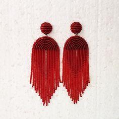 Red statement earrings Beaded tassel earrings Big dark red