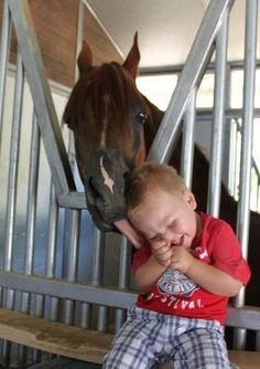 A precious little boy and a beautiful sweet horse. Two of my favorite things.