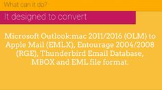 OLM to EMLX Converter by USL Software helps you to migrate emails, contacts, calendars etc from Mac Outlook (OLM) to Apple Mail (EMLX) and other file format