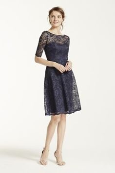 I'm gonna post a couple of bridesmaid dresses I found. This one is all lace and kindof compliments the lacy style dress that Sam's looking for. It also just feels kinda woodsy to me (that would probably be the leaf pattern lol).