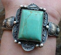 Navajo LINDBERG & EVA BILLAH Sand Cast Sterling Silver Turquoise Bracelet 48g