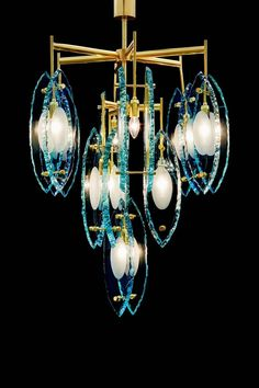 Italian Etched Chandelier by Gianluca Fontana 4