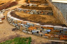 A retaining wall is a perfect DIY project for a variety of skill levels. We have rounded several retaining wall ideas to decorate and build your landscape. Terraced Landscaping, Landscaping On A Hill, Landscaping Retaining Walls, Landscaping Ideas, Landscaping Edging, Backyard Ideas, Steep Hillside Landscaping, Stones For Landscaping, Low Retaining Wall Ideas