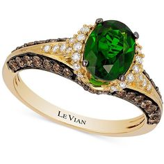 Le Vian Chocolatier Chrome Diopside (1-1/10 ct. t.w.) and Diamond (2/3... (38 745 ZAR) ❤ liked on Polyvore featuring jewelry, rings, green, green gold ring, round cut rings, yellow gold diamond ring, 14 karat gold ring and 14k gold jewelry