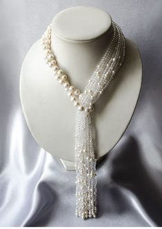 Pearls tassel necklace with rock crystal Waterfall Perlen Quaste Halskette mit Bergkristall Wasserfall Pearl Jewelry, Beaded Jewelry, Jewelry Necklaces, Handmade Jewelry, Jewellery, Pearl Necklaces, Crystal Necklace, Silver Jewelry, Bijoux Design
