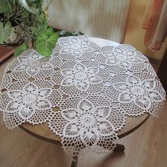 Chwile Wytchnienia Moments of respite Crochet Mat, Crochet Dollies, Crochet Lace Edging, Crochet Leaves, Easter Crochet, Crochet Round, Filet Crochet, Crochet Table Runner Pattern, Crochet Tablecloth