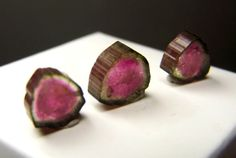 3 Watermelon Tourmaline Slices  three natural by CoyoteRainbow, $58.00