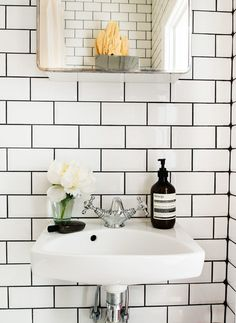 White subway tile bathroom black grout compact living i home decor organization bathroom tiles white bathroom . Metro Tiles Bathroom, White Subway Tile Bathroom, Bathroom Black, Downstairs Bathroom, Laundry In Bathroom, Master Bathroom, Bathroom Wall, Bad Inspiration, Bathroom Inspiration