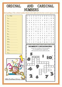 Cardinal And Ordinal Numbers Worksheets Number Words Worksheets, Free Printable Math Worksheets, Kids Math Worksheets, Writing Worksheets, Coloring Worksheets, English Worksheets For Kids, English Activities, Math For Kids, Lessons For Kids