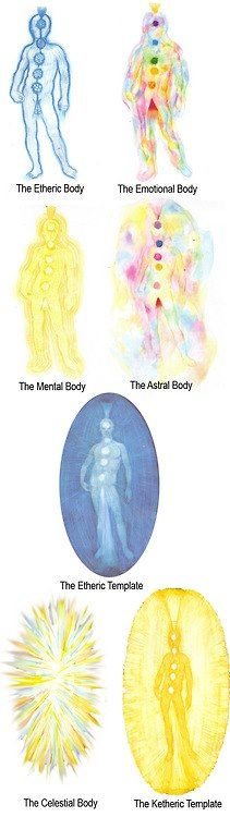 The first 7 levels of the human energy field, from Hands of Light by Barbara Brennan.