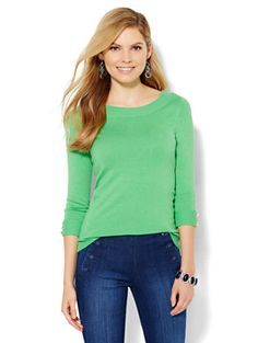Bateau-Neck Pullover - Solid  - New York & Company