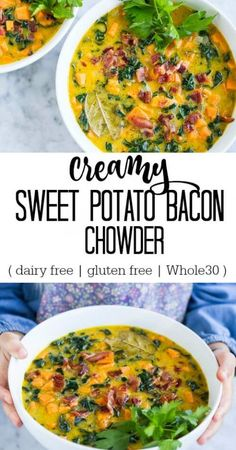 Creamy Sweet Potato Bacon Chowder (dairy free) - www.savorylotus.com