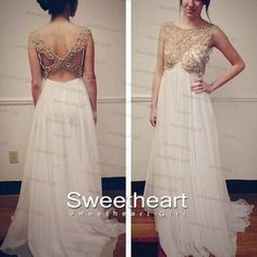White Chiffon Beaded Backless Long Prom Dress