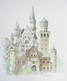 German Castle Print From Original Watercolour by Illustrarti, $22.00
