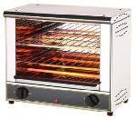 """Equipex Commercial Electric Toaster Oven 18"""" Wide Open Style with Double Shelf - BAR200. Equipex Commercial Electric Toaster Oven 18"""" Wide Open Style with Double Shelf - BAR200Ideal for melting, warming, and toastingTwo shelf snack toasters feature top and bottom infra-red heat15-minute timer for controlled operationStainless steel exterior and interior constructionTwo wire racks and crumb tray includedOpen-style models furnished with heat-resistant removable rack handlesDimensions: 18"""" Wide x"""