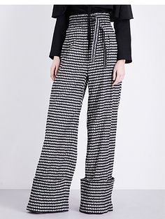 ROSIE ASSOULIN Gingham-print high-rise woven trousers