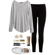 A fashion look from April 2015 featuring H&M tops, Warehouse leggings and Converse sneakers. Browse and shop related looks. Simple College Outfits, Lazy Day Outfits, Cute Casual Outfits, Simple Outfits, Everyday Outfits, Summer Outfits, School Outfits, Outfits With Converse, Converse Sneakers