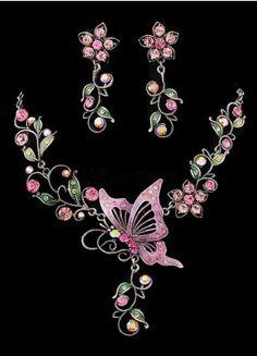 Fuchsia Butterfly Pattern Metal Jewel Set - Wedding Jewelry - Accessories