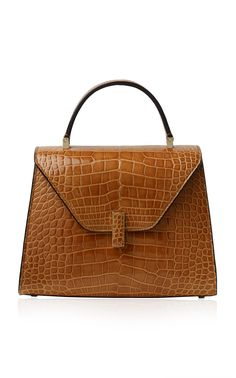 Valextra Alligator Iside Mini Top Handle In Brown Fashion Handbags, Fashion Bags, Women's Fashion, My Bags, Purses And Bags, Calf Leather, Leather Bag, Fab Bag, Classic Handbags