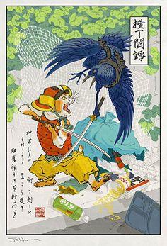 Artist: Jed Henry |  #Yellowmenace: Ukiyo-e Heroes (40 images) + http://yellowmenace8.blogspot.com/2015/10/art-jed-henry-dave-bull-ukiyo-e-heroes.html