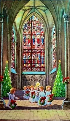 Angels attend - beautiful vintage Christmas card