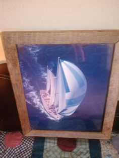 Rustic Barnwood Frame with Sailboat Picture by LooseChipsWoodWork,
