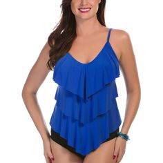 Magicsuit Electric Blue Ruffle Rita Tankini Top ($57) ❤ liked on Polyvore featuring swimwear, bikinis, bikini tops, plus size, ruffle bathing suit, tankini top, flounce bikini, swimsuit swimwear and flounce swimsuit