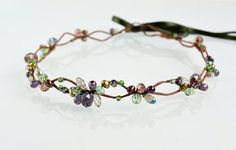 Crystal headband Wedding boho crown Princess tiara Flower girl gift Fairy hair wreath Purple green crown Fairy headpiece Mermaid gift
