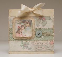 Card that could be made by cutting up old Christmas cards & using them to create a new, homemade card / Bibbis Dillerier