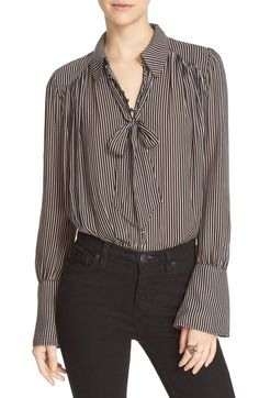 Free People 'Modern Muse' Tie Neck Long Sleeve Blouse available at #Nordstrom