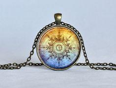 STEAMPUNK COMPASS PENDANT Light Blue Rusty Orange Steampunk Jewelry Compass Necklace Vintage Steampunk Astronomy Pendant Geekery
