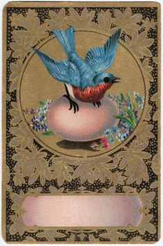 Free Vintage Clip Art - Amazing Bluebird with Egg - The Graphics Fairy