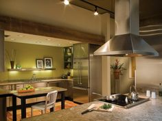 Looking for Green Kitchen ideas? Browse Green Kitchen images for decor, layout, furniture, and storage inspiration from HGTV. Dulux Kitchen Paint Colours, Kitchen Colors, Kitchen Decor, Kitchen Ideas, Kitchen Layouts, Nice Kitchen, Small Kitchen Tables, Kitchen On A Budget, Kitchen Countertop Materials