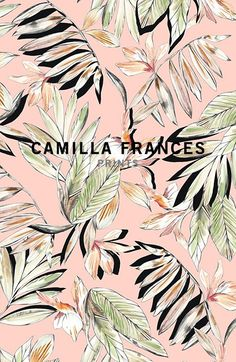 Camilla Frances is a individual print creator, leading a team that combines unique, personal design sensibilities with traditional hand drawing techniques to craft an ever-growing world of prints. Motifs Textiles, Textile Patterns, Textile Prints, Floral Prints, Floral Patterns, Tropical Design, Tropical Pattern, Surface Pattern Design, Pattern Art