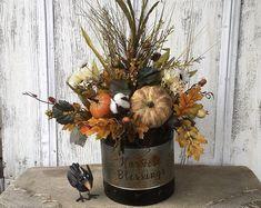 A Fall Floral Pumpkin Autumn Pumpkin Arrangement Pumpkin Arrangements, Fall Floral Arrangements, Fall Table Centerpieces, Floral Centerpieces, Centerpiece Wedding, Foam Pumpkins, Autumn Table, Harvest Decorations, Farmhouse Decor
