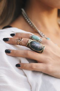 Boho jewelry :: Rings, bracelet, necklace, earrings + flash tattoos :: For Gypsy wanderers + Free Spirits :: See more untamed bohemian jewel inspiration @untamedorganica