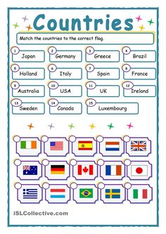 52 FREE ESL flags worksheets