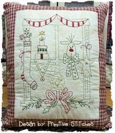 Christmas Window 1--Primitive Stitchery E-PATTERN by Primitive Stitches-Instant Download--$2.50