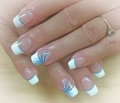 Uñas verano - - french tip nails - French Tip Nail Designs, French Nail Art, Diy Nail Designs, French Tip Nails, Pedicure Designs, Fingernail Designs, Pedicure Ideas, French Tips, Fancy Nails