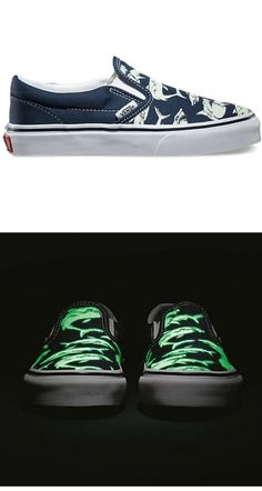 Vans' glow-in-the-dark shark slip on shoes for kids. Awesomeness.