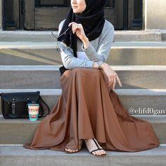 No photo description available. Hijab Style, Hijab Chic, Abaya Style, Islamic Fashion, Muslim Fashion, Mustard Skirt, Cute Muslim Couples, Hijab Collection, Abaya Fashion
