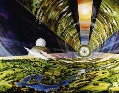 Intérieur d'une station à forme cylindrique, vue intérieure (Crédits image : NASA AMES RESEARCH CENTER)