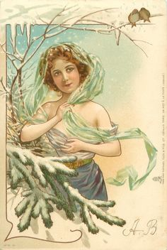 girl in filmy dress stands partly behind snowy fir branch, holds filmy green wrap, two birds above