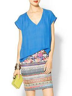 loose top/casual w/Flirty printed pencil skirt.....#a gud luk*