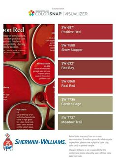 Positive red / showstopper for powder room? Red Color Chart, Red Color Schemes, Red Colour Palette, Red Paint Colors, Kitchen Paint Colors, Paint Colors For Home, Red Kitchen Cabinets, Visualizer App, Coloring For Boys