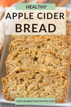 This Healthy Apple Cider Bread is a delicious fall treat! Gluten free, dairy free and sweetened only with honey - it's perfect for a quick breakfast or snack. #glutenfree #apple #applecider #fall Healthy Bread Recipes, Healthy Muffins, Healthy Meals For Kids, Healthy Breakfast Recipes, Clean Eating Breakfast, Make Ahead Breakfast, Breakfast Ideas, Low Carb Desserts, Healthy Desserts